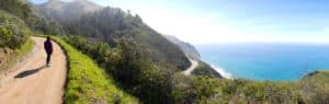 Panorama view off trail overlooking Pacific in Big Sur