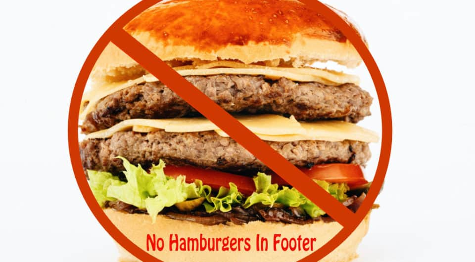 image of a hamburger with a line through it and text saying No Hamburger in Footer