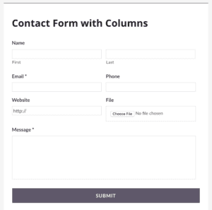 screenshot of gravity forms contact form using built-in columns classes
